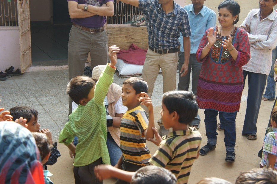 Boys dancing to a Bollywood song