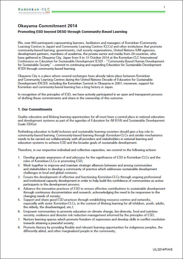 Okayama Commitment 2014 promoting ESD beyond DESD through community