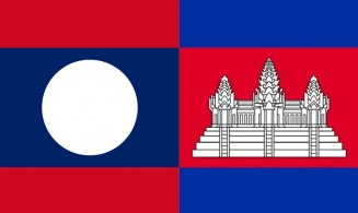 Flags of Cambodia and Lao People's Democratic Republic