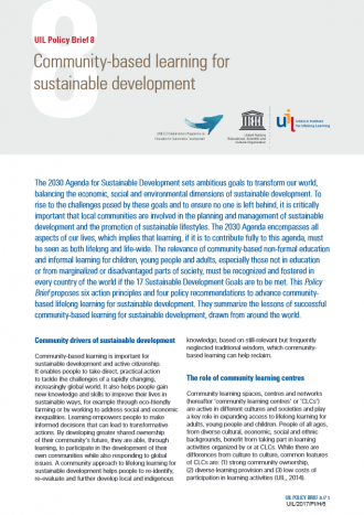 Community-based learning for sustainable development - UIL Policy ...